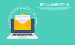 Email marketing, newsletter marketing, email subscription and drip campaign with icon. Flat design, vector illustration. On background Stock Image