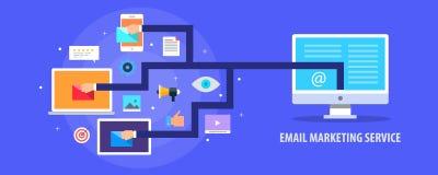 Email marketing service - promotional email getting delivered on user laptop, tablet, mobile concept. Flat design vector banner. royalty free illustration