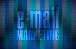 Email marketing sign over a binary background Stock Image