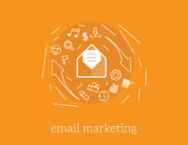 Email marketing vector concept illustration. Vector email marketing illustration icons and mail Stock Photos