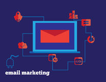 Email marketing vector concept illustration icons and notebook Royalty Free Stock Photos
