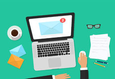 Email marketing vector illustration, auditor person working on workdesk with laptop, envelope, email analyzing or Stock Photo