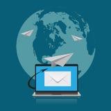 Email marknadsföring, jordklot, vektor, illustration Royaltyfri Fotografi