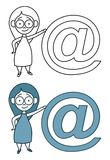 Email mascot girl Royalty Free Stock Image
