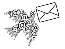 Email message. Dove comprised by email symbols carrying envelope Royalty Free Stock Image