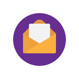 Email message flat icon. Round colorful button, Envelope with letter circular vector sign, logo illustration Royalty Free Stock Images