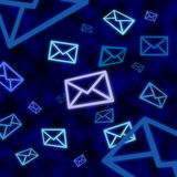 Email message icons floating in blue cyberspace Stock Image