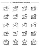 Email & Message icons set, Line Thickness icons Stock Images