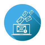 Email message on laptop. Vector illustration in flat style on bl Royalty Free Stock Images