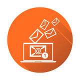 Email message on laptop. Vector illustration in flat style on or Royalty Free Stock Photo