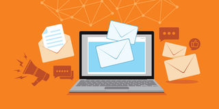Email and message technology with laptop illustration Royalty Free Stock Photography