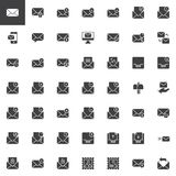 Email and message vector icons set. Modern solid symbol collection, filled style pictogram pack. Signs, logo illustration. Set includes icons as envelope Stock Photo