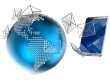 Email o SMS enviado al teléfono móvil Fotos de archivo