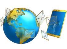 Email o sms inviati al telefono cellulare Fotografie Stock Libere da Diritti