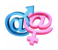 Email och genussymboler Arkivbild
