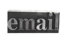 'email' in old metal type Stock Image