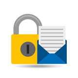 Email open newsletter padlock icon Royalty Free Stock Photography