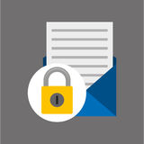 Email open newsletter padlock icon Royalty Free Stock Image