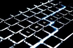 Email ortografato con indicatore luminoso Fotografia Stock