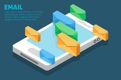 Email på smartphonen Arkivbilder