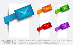 Email paper tag with transparent shadows. Royalty Free Stock Image