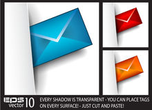 Email paper tag with transparent shadows Royalty Free Stock Photography