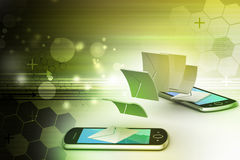 Email partageant entre le téléphone intelligent Images stock
