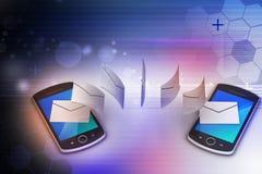 Email partageant entre le téléphone intelligent Photos stock