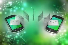 Email partageant entre le téléphone intelligent Image libre de droits