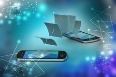 Email partageant entre le téléphone intelligent Photo stock
