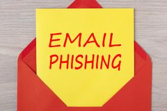 Email phishing Warning Concept. Email phishing written on letter in red envelope. Online fraud or phishing concept Stock Photos