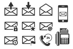 Email and phone vector icons set Stock Photography
