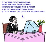 Email. Please read the attached email, flooding the system with too many unnecessary email Royalty Free Stock Photos