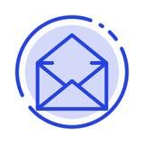 Email, poczta, wiadomość, Otwarty błękit Kropkująca linii linii ikona ilustracji
