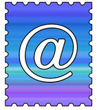 Email Postage Stamp. With @ Symbol vector illustration