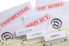 Email Privacy. Symbol for email privacy - Letters (Top Secret, Privacy and Confidential) in a register inbox Royalty Free Stock Images