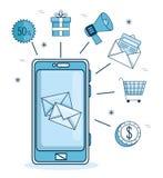 Email promoci i marketingu emaila powiadomienie na telefonie komórkowym ilustracja wektor