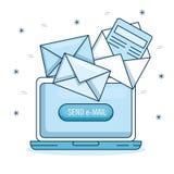 Email promoci i marketingu komputer z emaila powiadomieniem ilustracji
