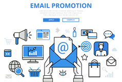 Email promotion digital marketing concept flat line art vector icons Stock Photos