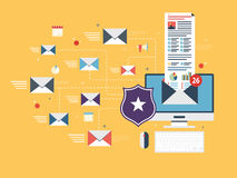 Email protection and secure communication on internet. Spam blocker. Royalty Free Stock Photo