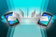 Email que comparte entre el teléfono elegante Foto de archivo