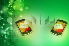 Email que comparte entre el teléfono elegante Imagen de archivo libre de regalías
