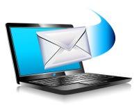 Email que envía la computadora portátil del mundo SMS Imagen de archivo libre de regalías
