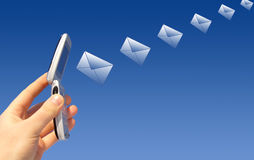 Email que está sendo emitido por um rádio Fotografia de Stock