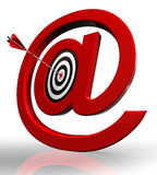 Email red symbol and concept target Royalty Free Stock Photo