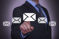 Email Resource Businessman with Finger Royalty Free Stock Photography