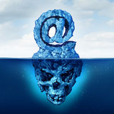 Email Risk. And internet communication danger as an iceberg shaped as an ampersand e-mail symbol with a skull shape hidden under the water as a metaphor for vector illustration