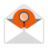 Email with search content icon. On white background, vector illustration vector illustration