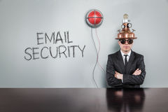 Email security text with vintage businessman Stock Photos