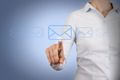Email Send Conceptual Work on Visual Screen Royalty Free Stock Image